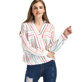 BURDULLY Loose Chiffon Shirt Elegant Women Blouses Long Sleeve 2018 Summer Ladies Top And Blouses Stripe Shirts Turn Down Collar