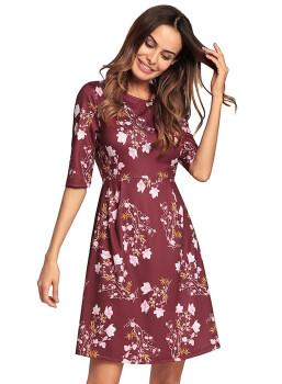 New Spring Summer Women Plus Size Vintage Female Vestidos Retro Kleider Damen Half Sleeve Red Women Mini Dress