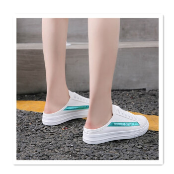 2018 new wild Korean version of the heelless canvas shoes a pedal flat lazy shoes without heel baotou lazy pregnant women sandals