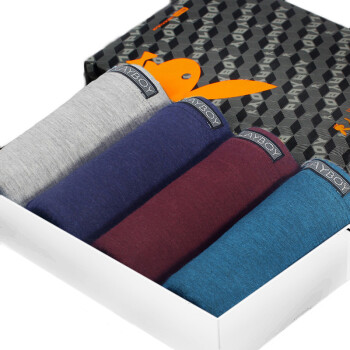 Playboy PLAYBOY 5324 Men&39s underwear flat pants four pants 4 gift boxes dark red dark green dark blue gray L