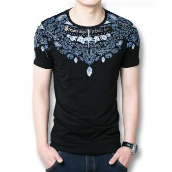 Men Fashion T Shirts 2016 Short Sleeves T Men Shirts Chinese National Printed Men T Shirts Black White Men Casual T Shirts