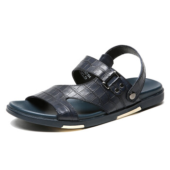 Crown CROWN sandals male anti-skid breathable sandals casual men outdoor leather slippers 5118D621Q4 blue -42 yards
