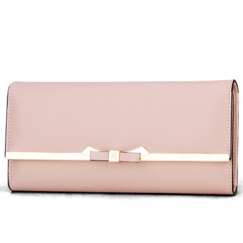 Montessori MONTAGUT wallet female long bow Korean version of the Korean version of the big money folder twisted women&39s simple buckle R5222056212 apricot