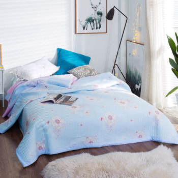 Ying Xin home textiles summer cool water washing machine can be quilted double summer air-conditioned by the Korean version of the summer thin quilt blue 200 230cm
