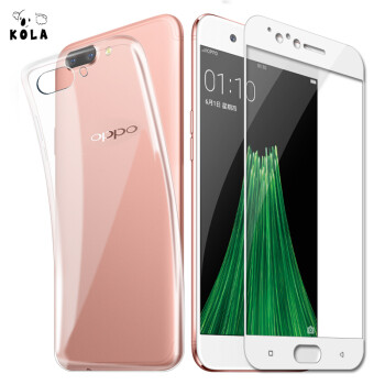 Shell film set KOLA OPPO R11 transparent mobile phone case protective cover full screen cover mobile phone film protective film for OPPOR11 white