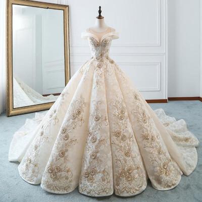 2019 Luxury Princess Wedding Dresses Lace Embroidery Wedding Ball Gown Long Trian Vintage Wedding Dress