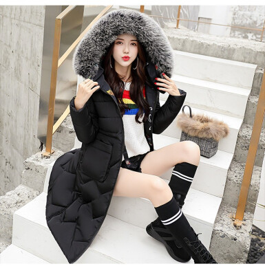 The new winter 2018 down jacket women wear the long&medium length cotton jacket fat MM slimming coat on both sides