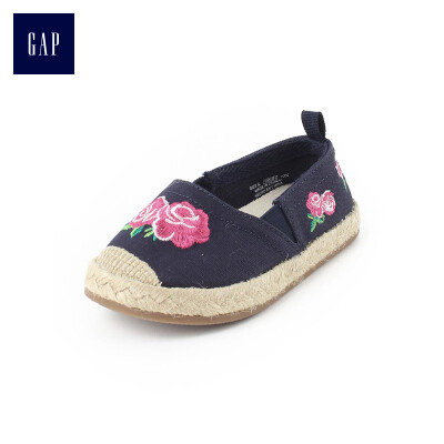 GAP flagship store childrens embroidery straw round head flat shoes 292847 Navy blue 18 yards 140CM