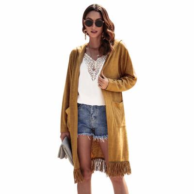 New Women Autumn Winter Wear Thin Hooded Coats Medium Long Section Long-sleeved Tassel Cardigan Hooded Coat
