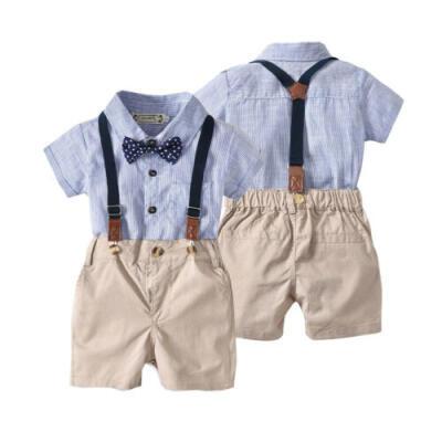 Newborn Baby Boy Gentleman Suit Formal RomperSuspender Shorts Outfits Clothes