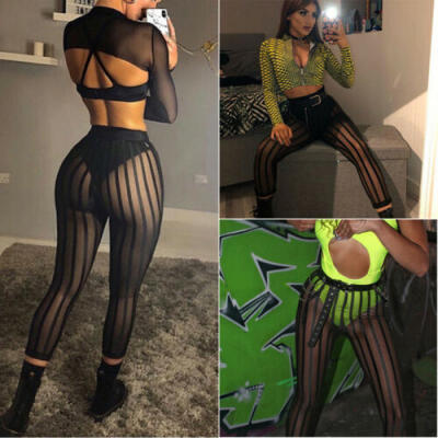 Women Mesh Striped Long Pant Slim Leggings Trouser Sheer Party Cocktail Swimwear