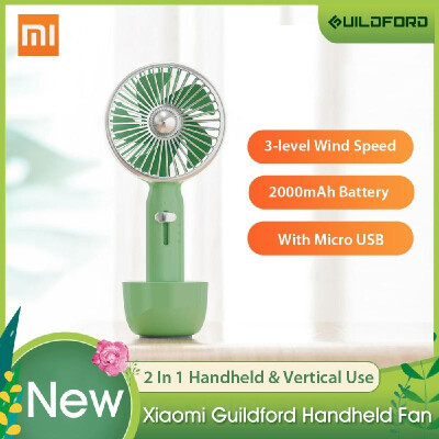 Xiaomi Mijia Guildford Handheld Fan 2 In 1 Mini Retro Desk Portable Fan USB Rechargeable Air Cooler 3 Speed Fan 2000mAh