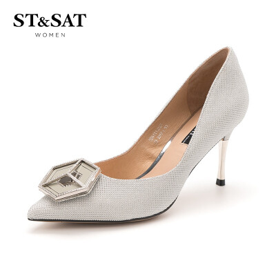 Saturday womens shoes ST&SAT Glitt buckle high-heeled fashion shallow mouth shoes SS91111223 silver 36