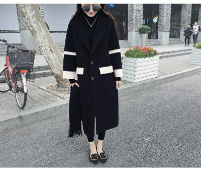The new Korean loose woolen overcoat for autumn&winter 2018 is a long medium&thick woolen overcoat women