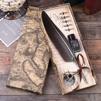Feathers Fountain Pens High Quality Blue Metal Calligraphy Dip Pen Set Gift Box Writing with ink Bottle Wedding Gift Quill Pen