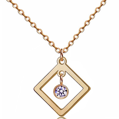 YISHIZHIAI square geometric pendant hollow necklace clavicle necklace fashion womens accessories 4457
