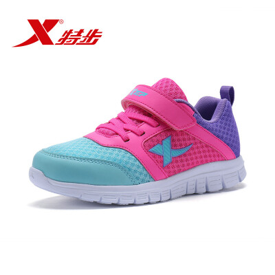Xtep XTEP childrens sports shoes girls sports shoes color matching running shoes 683314119500 red purple 35 yards