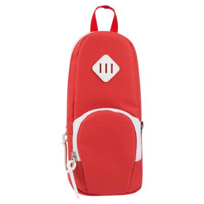 Deli deli high-capacity pencil case Creative pencil bag pencil pocket suction iron stand-up red 66759
