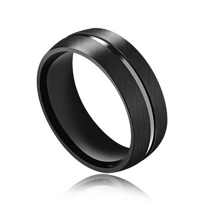 8MM Черное кольцо перста нержавеющей стали для людей Простой стиль Знаменитый бренд ювелирных изделий Мужской подарок. * OR516