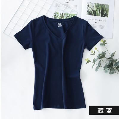 Kangshu DaiShu solid color simple short-sleeved T-shirt ladies V-neck Slim half-sleeve T-shirt tops versatile cotton bottoming shirt Tibetan blue S