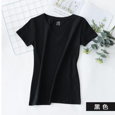 Kangshu DaiShu solid color simple short-sleeved T-shirt ladies V-neck slim half-sleeve T-shirt tops wild cotton bottoming shirt black S