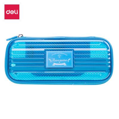 Deli deli large capacity student pencil case pencil case pencil storage box silver lake blue 66773