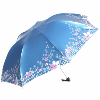 [Jingdong Supermarket] Paradise umbrella snow wind flower black and white plastic three fold pencil umbrella sun umbrella sunny umbrella 307E green blue