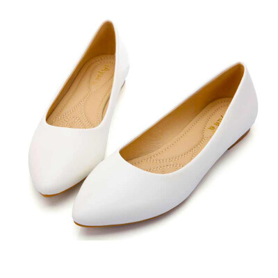 YALNN Autumn New Shoes Women Flats Leather Platform Shoes White Women Pointed Toe Leather Shoes for Girls