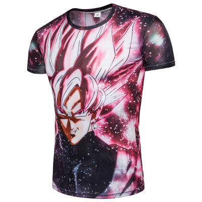2018 Summer Mens T-shirt 3D Printing T-shirt Mens Short-sleeved Dragon Ball T-shirt Mens Compression Shirt