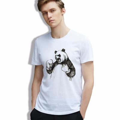cotton Men T-shirt Printed Panda Sketch Boxinger Animal Vintage White Tshirts Casual Fashion Clothing