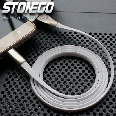 STONEGO Type C Cable Sync Data Charge Power Cables Zinc Alloy Noodle Flat Fast Charging Cord Wire for Android Smartphone Tablet