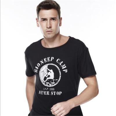 2018 summer short-sleeved T-shirt mens personality printed Slim bottoming shirt youth large size mens t-shirt
