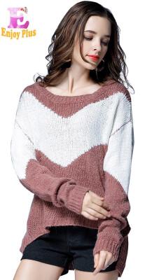L XL XXL 3XL 4XL 5XL plus size casual autumn winter new 2018 women sweater&pullover big size long sleeve loose striped lady