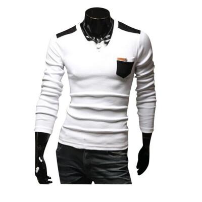 Zogaa New Mens T-Shirt Korean V-neck Color Matching