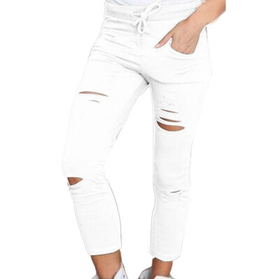 Women Holes Pencil Pants Stretch Casual Denim Skinny Ripped Pants High Waist Jeans Trousers