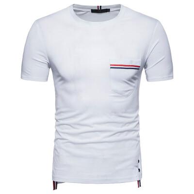 JCCHENFS 2018 Fashion Ribbon Stripe Patchwork T-Shirts Summer Short Sleeve Brand Mens T-Shirt High Quality Cotton Casual T Shirt