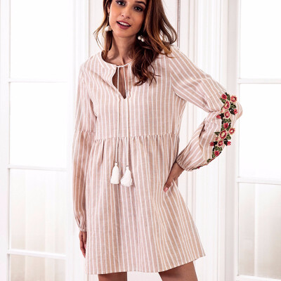New Fashion V-neck Embroidery Stitching Dress Casual Striped Drawstring Waist Long-sleeved Dresses