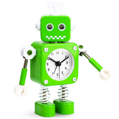 Code Shi alarm clock children cartoon personality electronic clock cute lazy mechanical living room creative metal student small alarm clock 2754 robot green