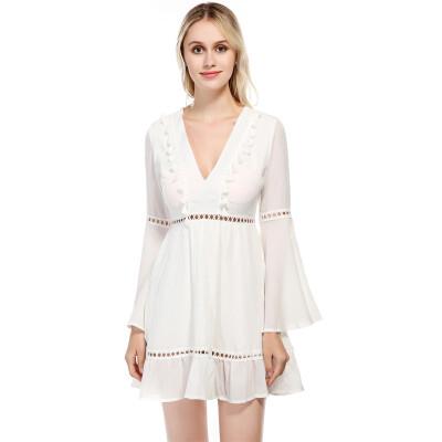 PREISEI New Women One-piece Dress White Pink Sexy Slim Empire V-neck Long Flare Sleeve Chiffon Mini A-line Dress