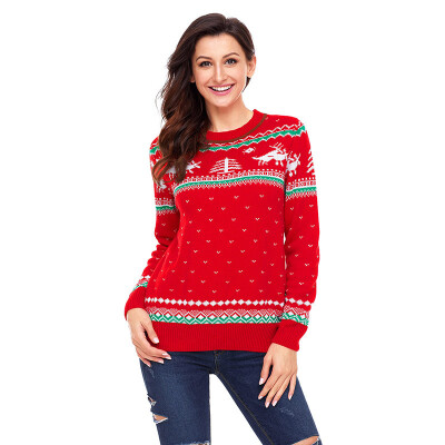PREISEI Autumn Winter Sweet Casual Reindeer Print Christmas Sweater Women O-Neck Long Sleeve Knitted Pullover PR27790