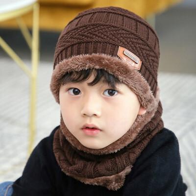 Autumn&winter new wool hat neckband suit tide Korean version winter thickened warm knit hat childrens hat