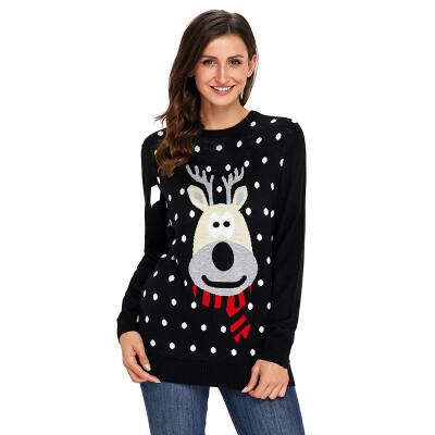 PREISEI 2018 Autumn Winter Sweet Casual Reindeer Polka Dot Pullover O-Neck Long Sleeve Straight Christmas Sweater Women PR27695