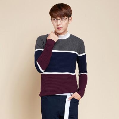 Senma (Semir) Мужчины простых круглых пуловеры шеи большие цветные полосы хит цвета жаккардового свитер Корейская волна 19416061902 зеленый черного тона S