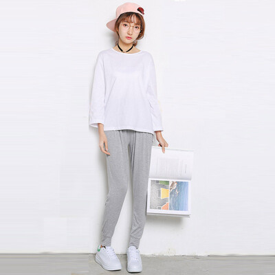 CITYPLUS literary style of the end of the laying of large yards of pure color within the simple nine sleeves T-shirt women CWTC172268 white all