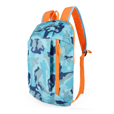 WELLHOUSE backpack outdoor backpack camouflage student bag travel bag riding bag men&women casual bag small bag camouflage blue