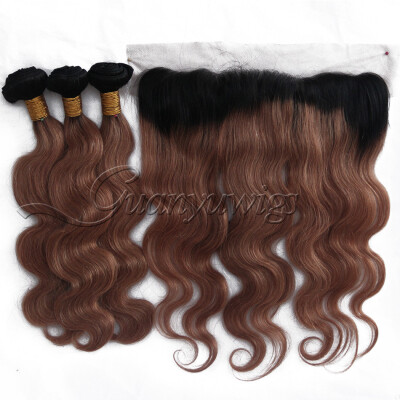 3/4 Bundles With Closure Guanyuhair #27 Honey Blonde Body Wave Malaysia Human Hair 3 Bundles With Frontal Closure 13x4 Ear To Ear Hair Extensions & Wigs
