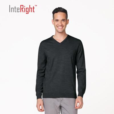 INTERIGHT50 шерсти мужского делового случая V-образный вырез свитер темно-синий M код