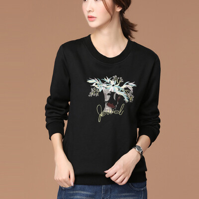 City plus CITYPLUS 2017 autumn&winter new women&39s art plus cashmere thick long-sleeved sweater embroidered loose primer shirt CWWY178353 black XL