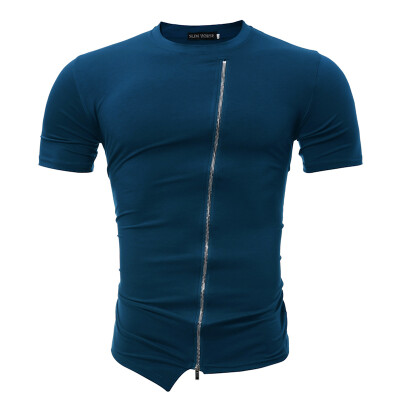 Male 2017 Brand Short Sleeve Solid Color Novelty T Shirt O-Neck Slim Men T-Shirt Tops Fashion Mens Tee Shirt T Shirts HJ
