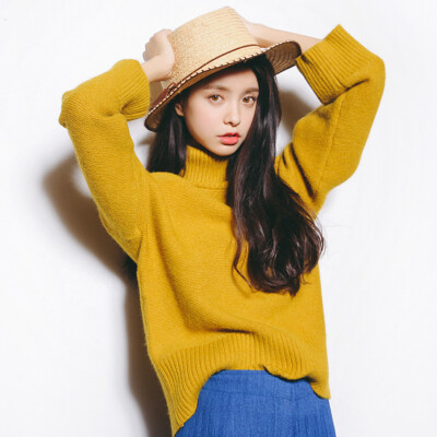 City plus CITYPLUS 2017 autumn&winter new women&39s fashionable long-sleeved loose casual sweater sweater high-necked thick sweater CWYC179359 turmeric all